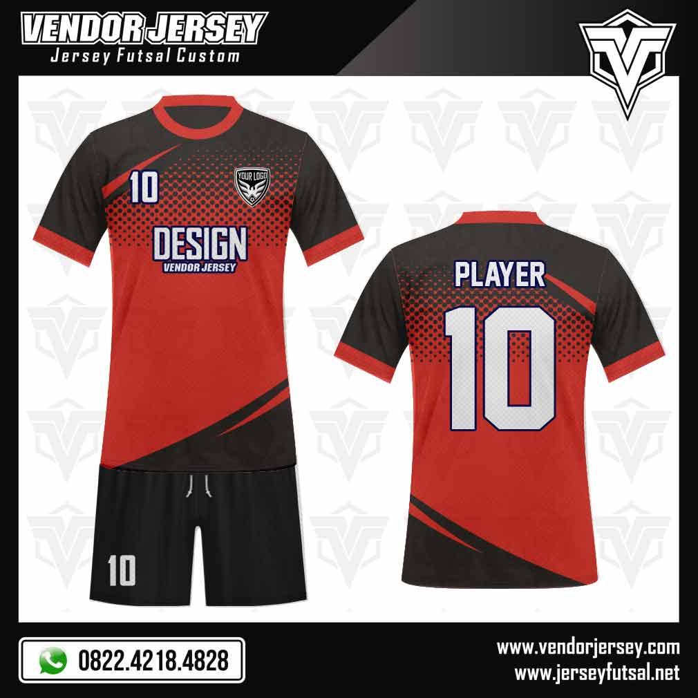 desain kostum futsal Red Graudo