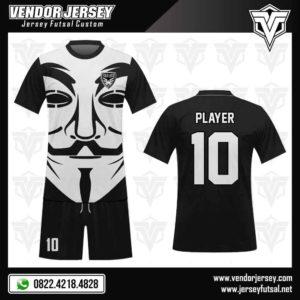 Desain Baju Jersey Futsal Karakter Topeng Vendetta / Anonymous