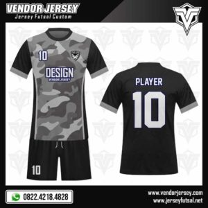 Desain Jersey Futsal Depan Belakang Motif Abu Army