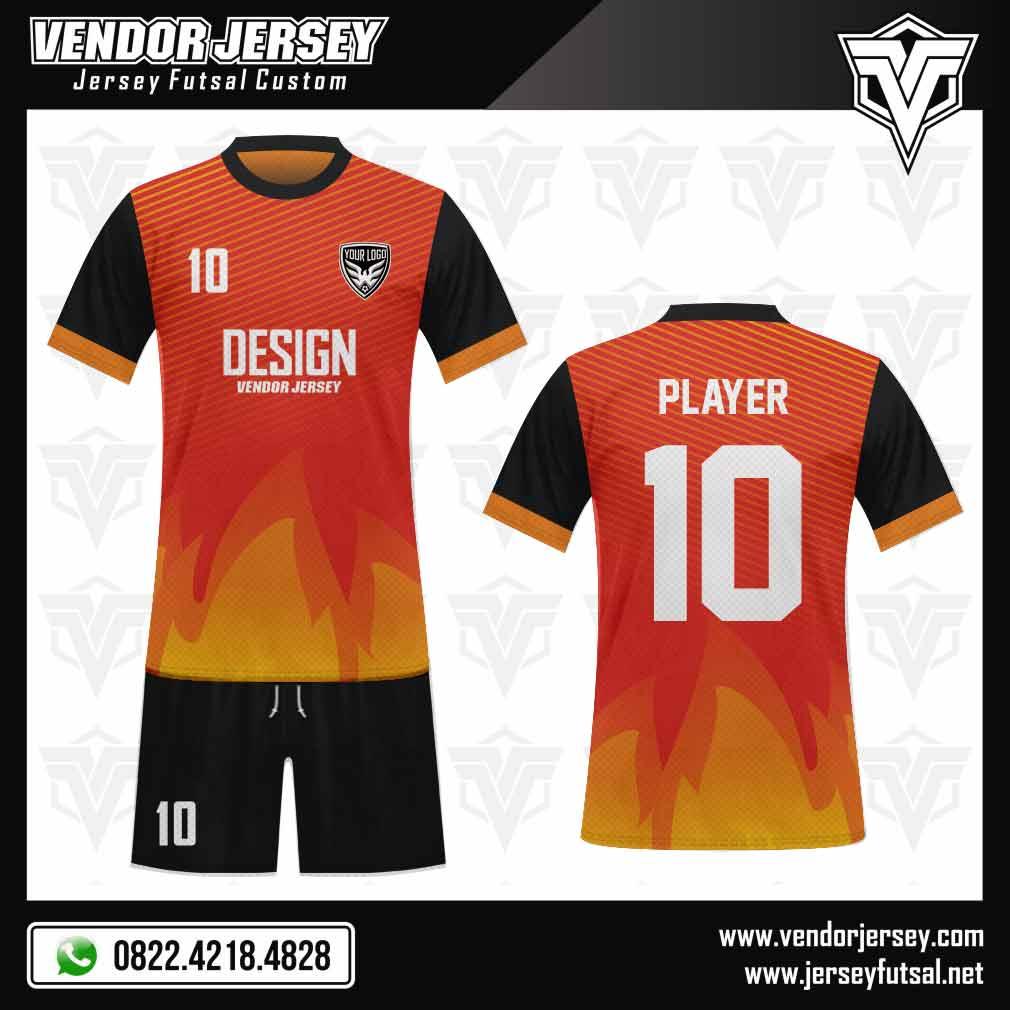 Desain Kaos Seragam Futsal - Motif Api