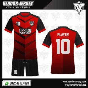 Model Desain Jersey Futsal Merah Gradasi
