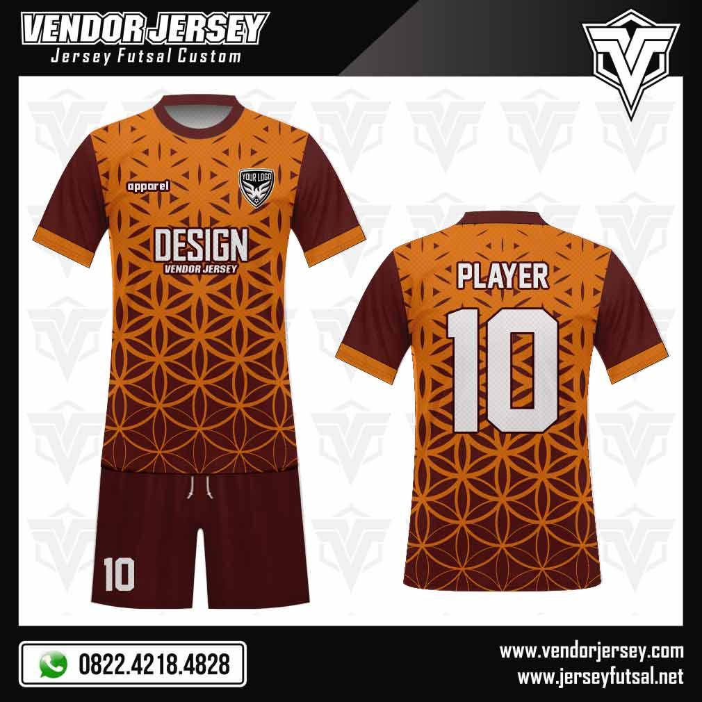 Desain Baju Futsal Bellezza orange kombinasi marun