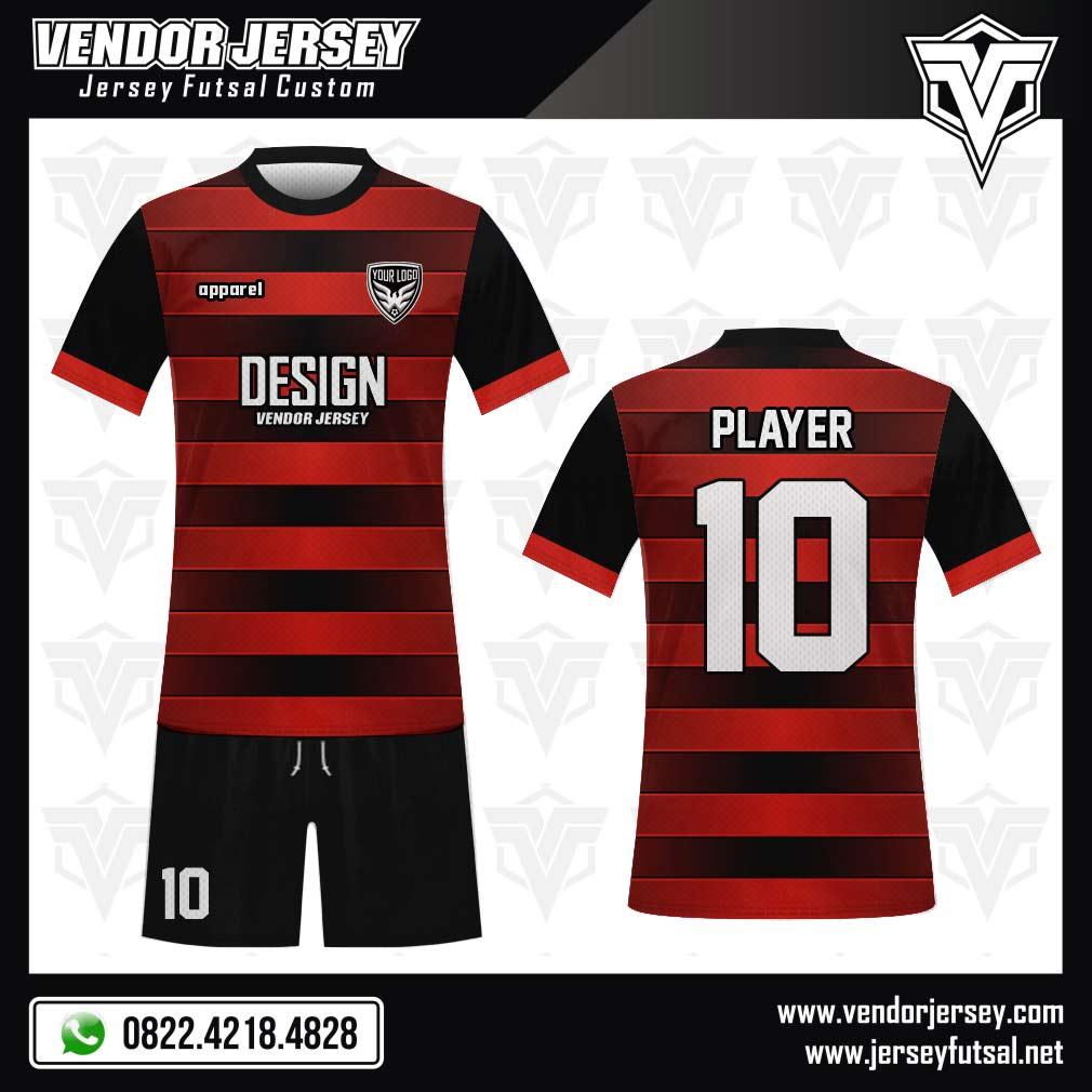 Desain Baju Futsal Horishine warna merah hitam