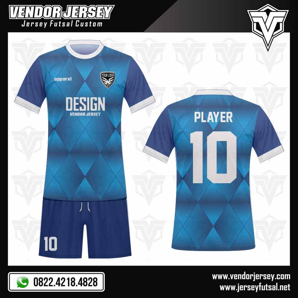 Desain Baju Futsal Rhombushine warna biru gradasi