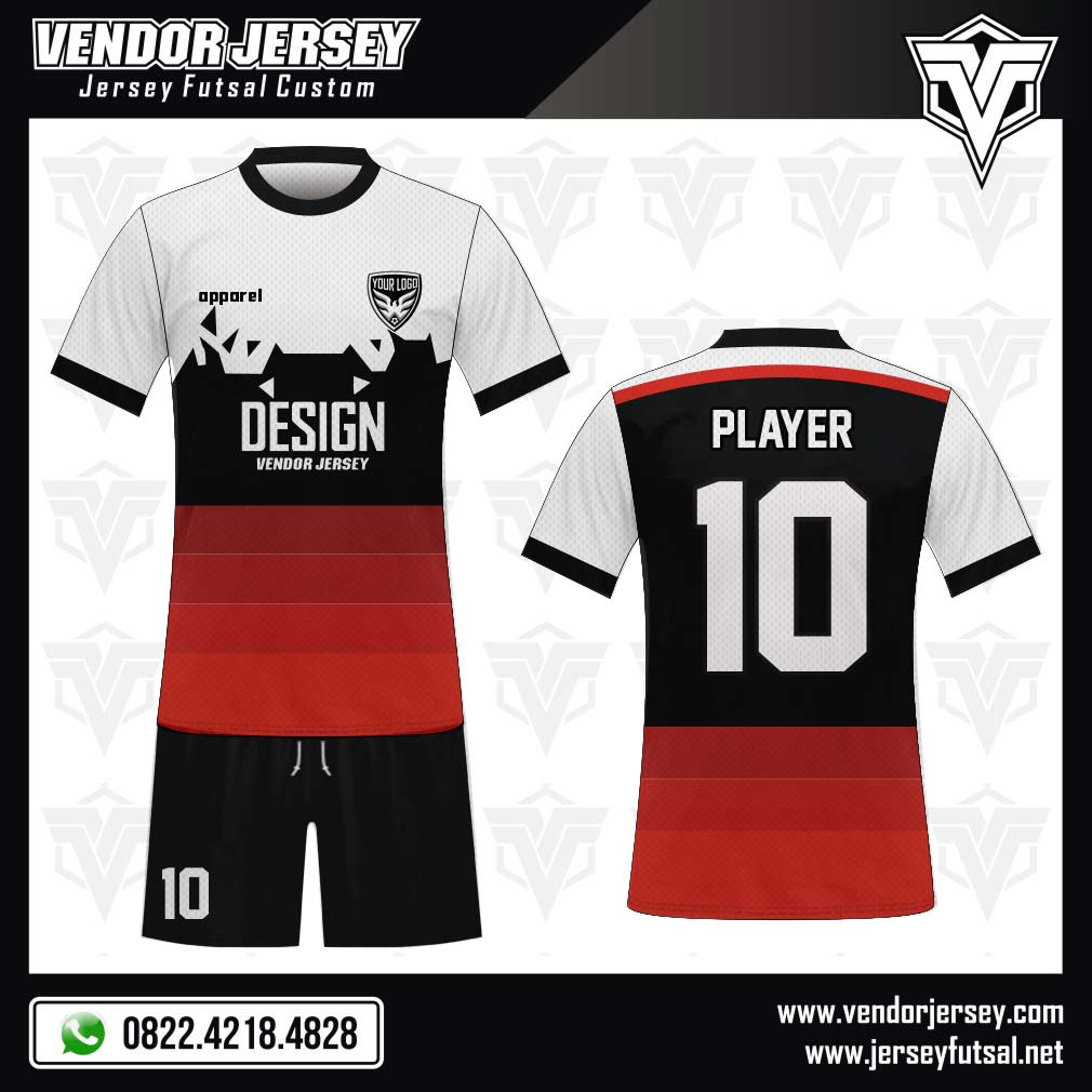 Desain Baju Futsal Terbaik WARNA merah putih