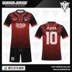 Desain Kaos Futsal Batik Merah Hitam