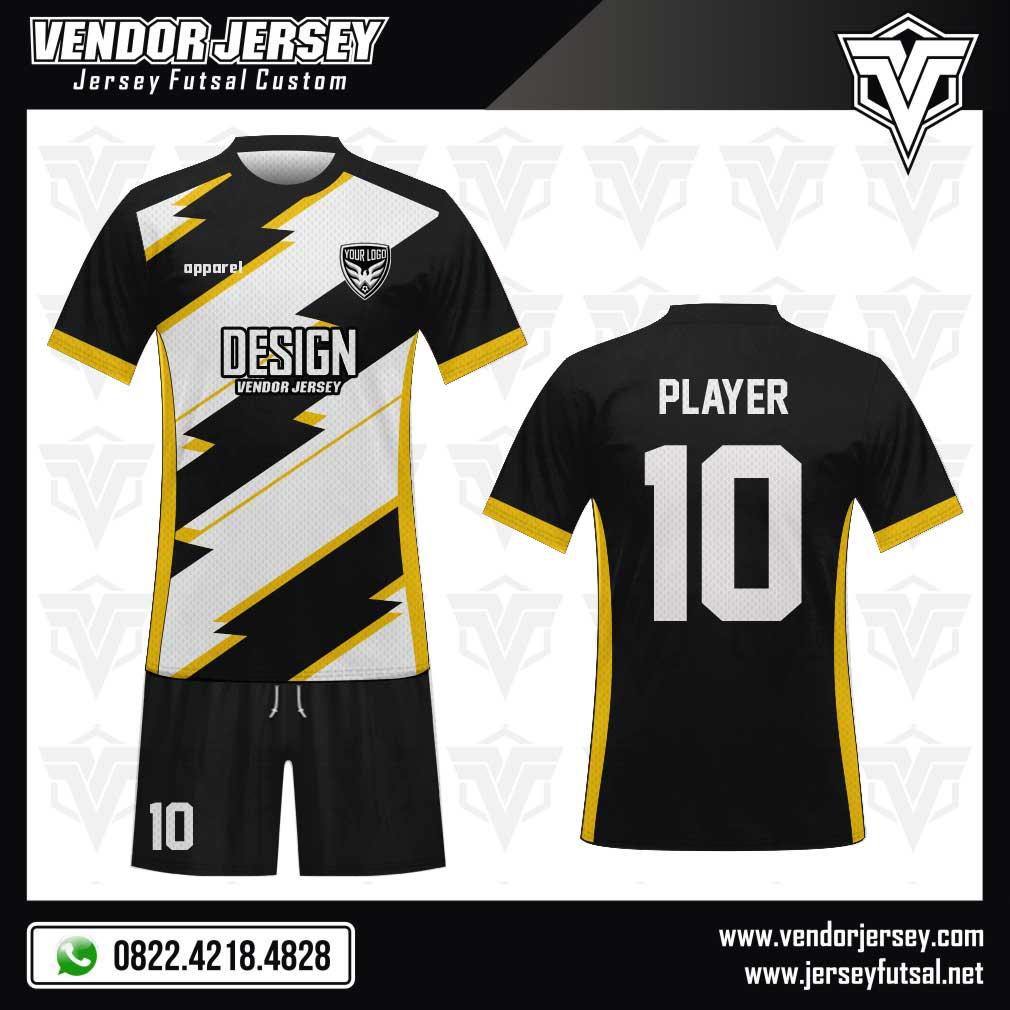 Desain Kaos Futsal Depan Belakang Terbaru hitam putih