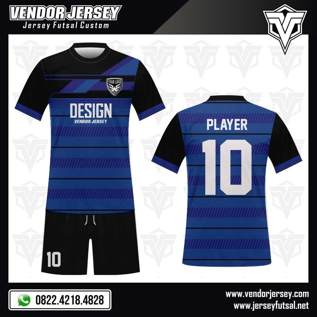 Desain Kaos Futsal Hansomegrow warna biru hitam