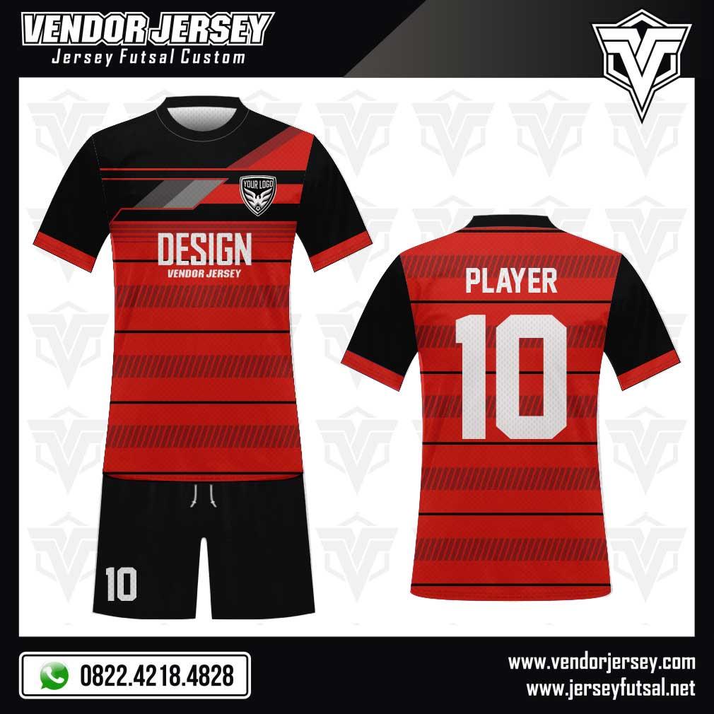 Desain Kaos Futsal Hansomegrow warna merah hitam