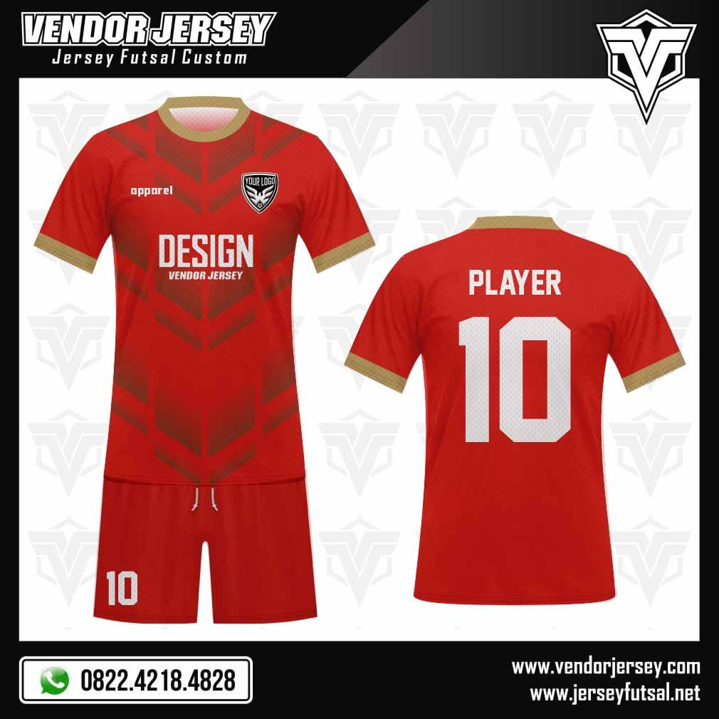 Desain Kaos Futsal Motif Gradasi merah emas