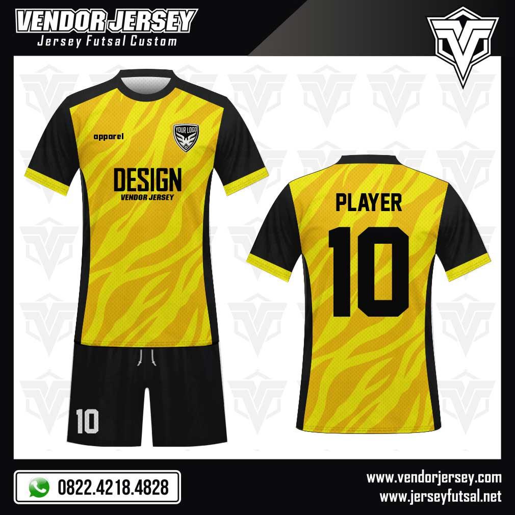 Desain Kostum Futsal Le Zebre warna kuning hitam