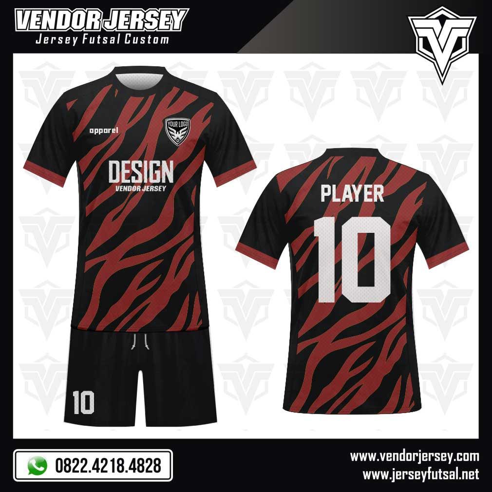Desain Kostum Futsal Le Zebre warna marun hitam