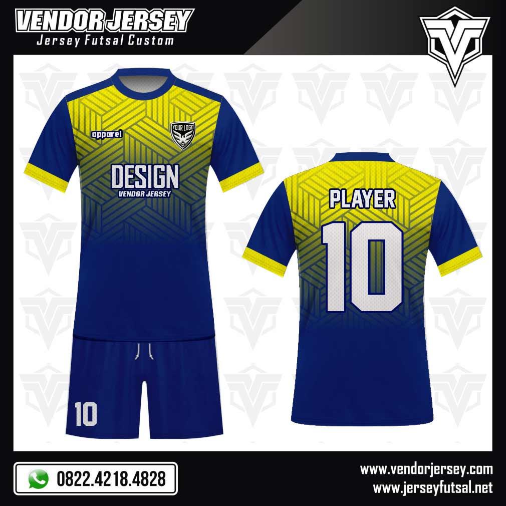 Desain Kostum Futsal Parallelogram gradasi biru kuning