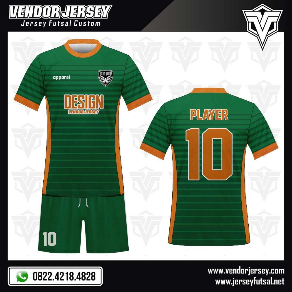 Desain Kostum Seragam Futsal Simplicity warna hijau