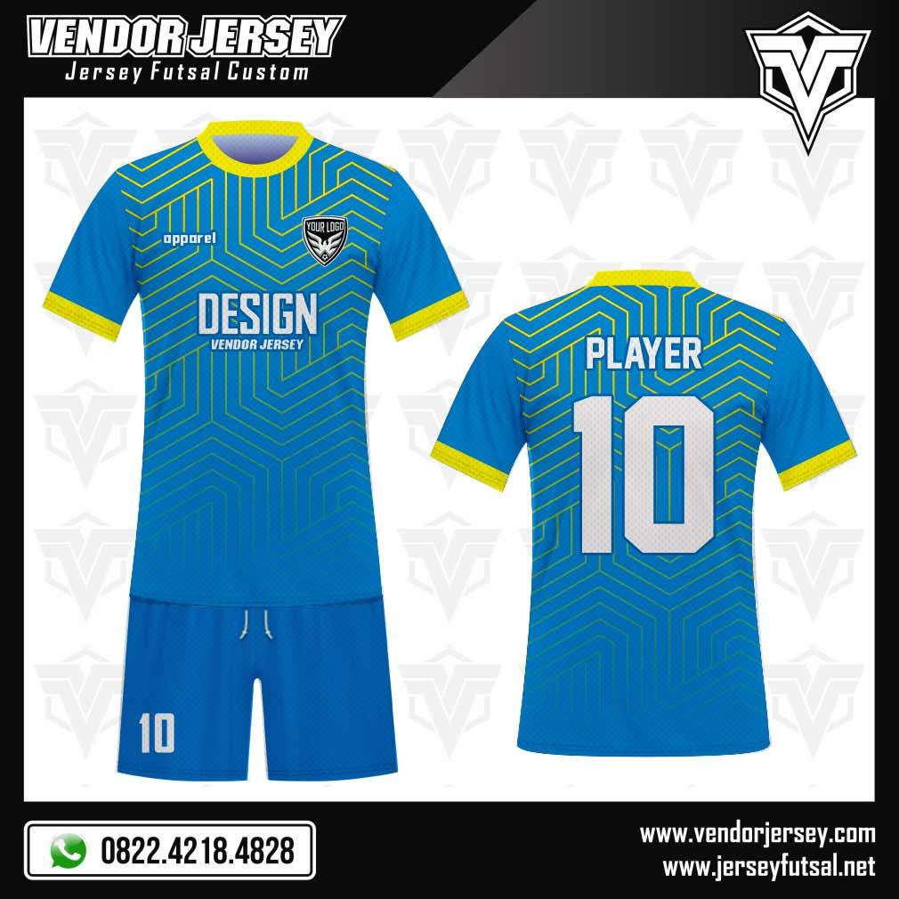 Desain Seragam Tim Futsal Skyline Warna Biru Muda Kuning