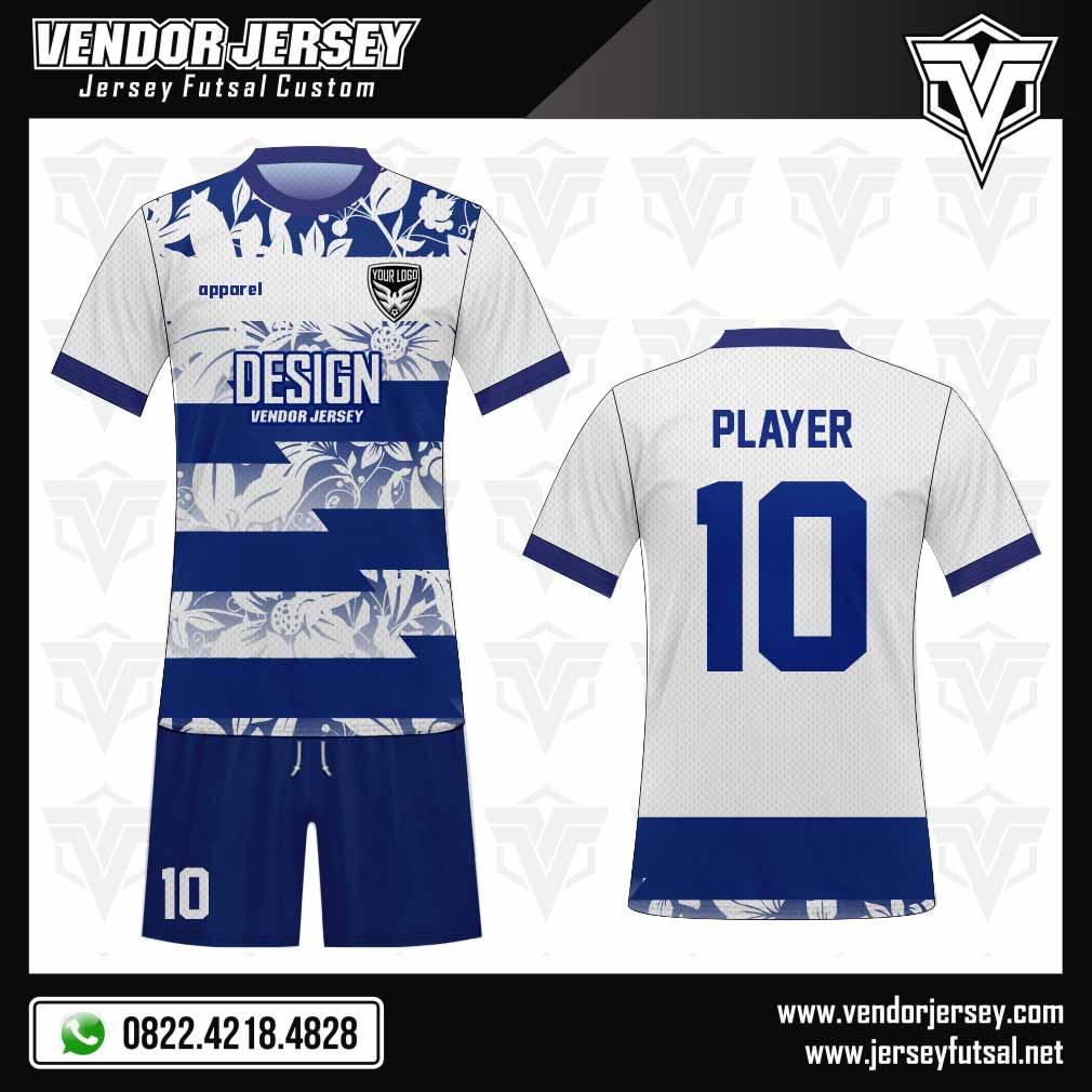 Desain jersey futsal terbaik motif daun