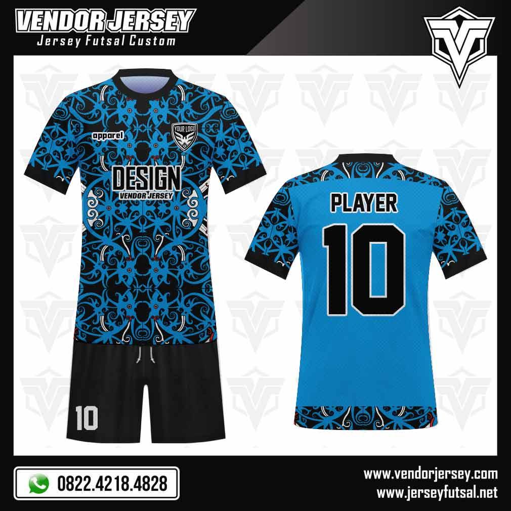 desain jersey futsal batik warna biru