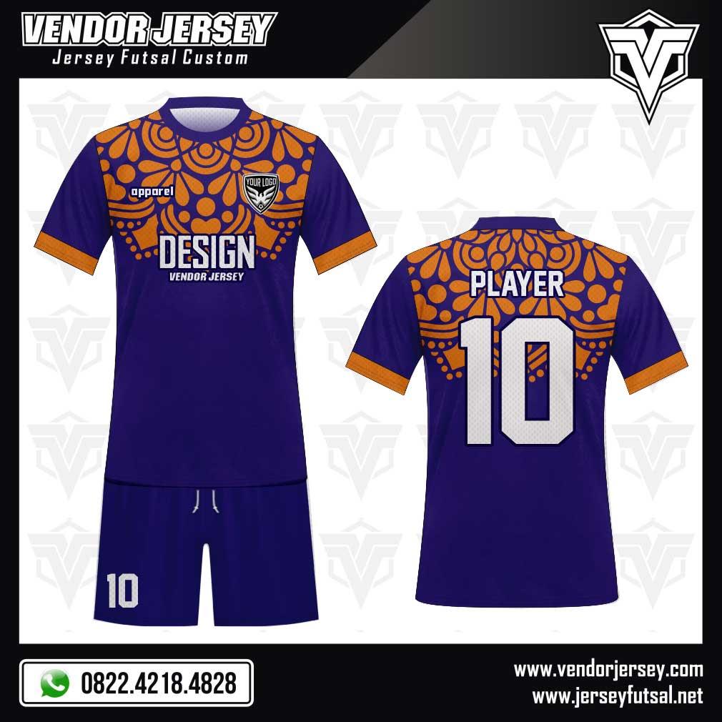 Desain Baju Futsal Garnish warna biru orange