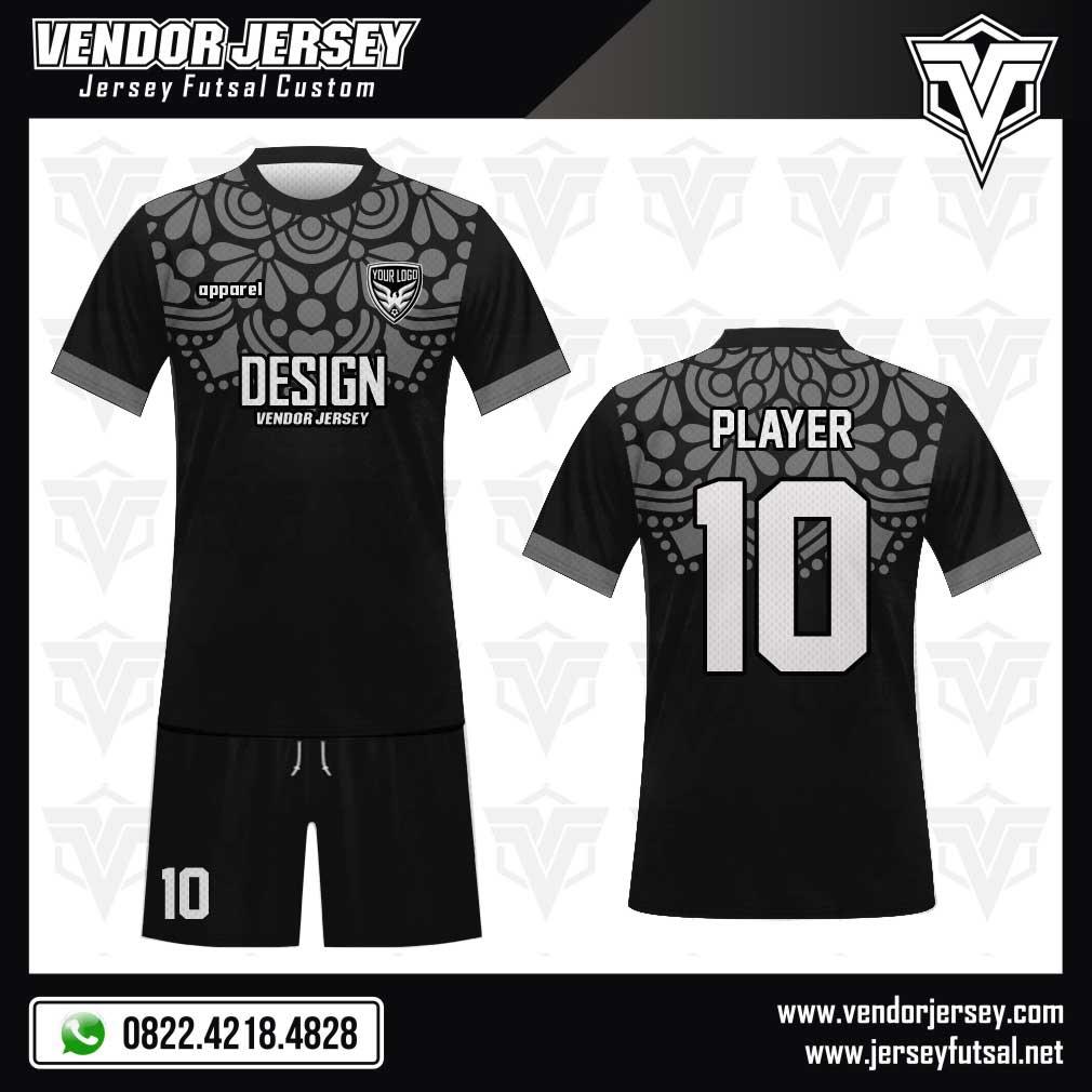Desain Baju Futsal Garnish warna hitam abu