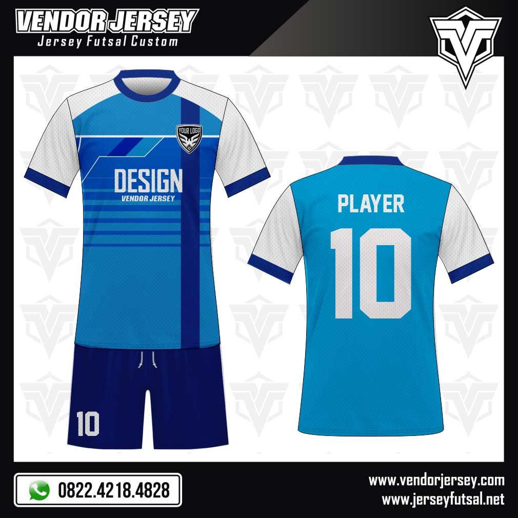 Desain Baju Futsal Reviblue warna biru putih