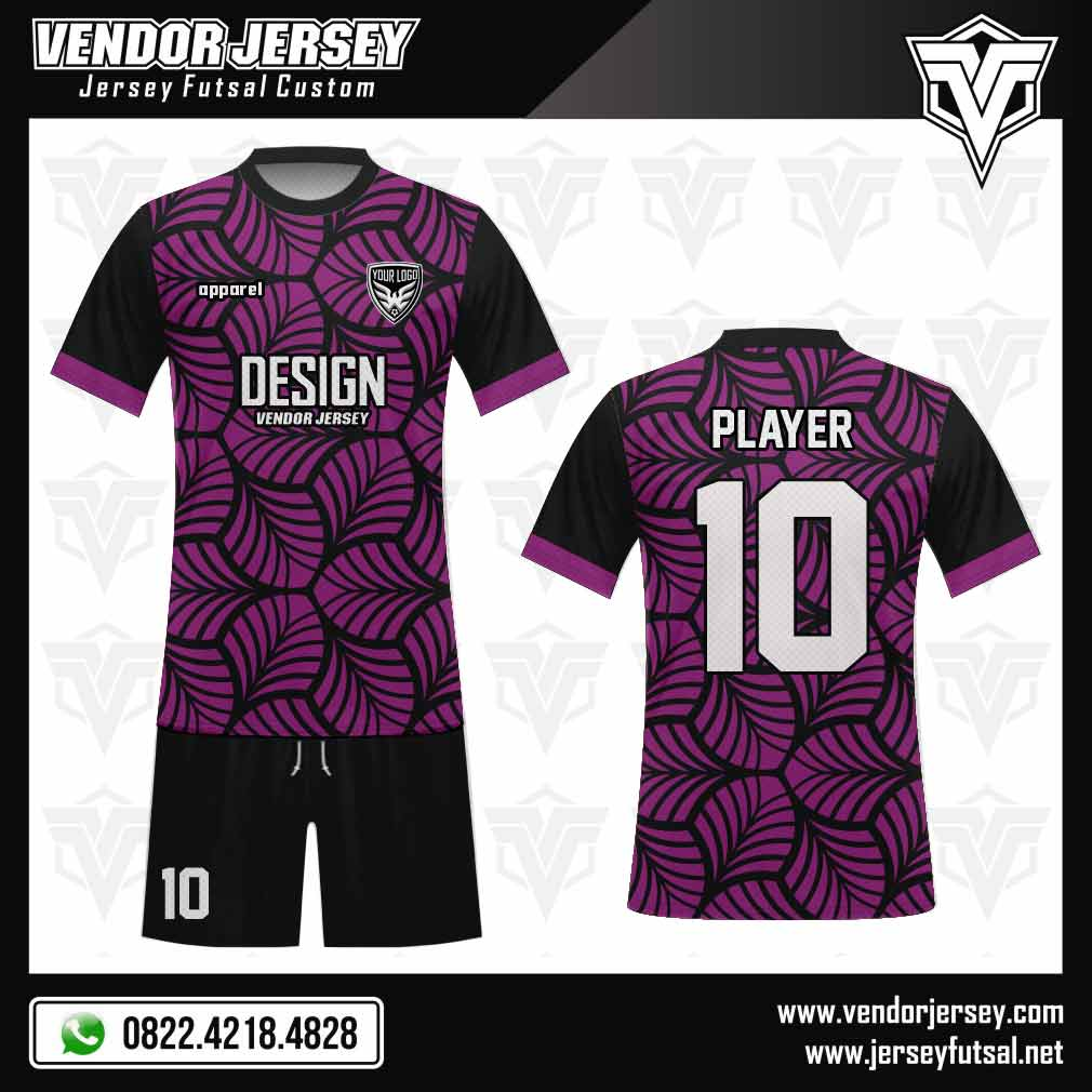 Desain Baju Futsal Verdure motif daun warna hitam ungu