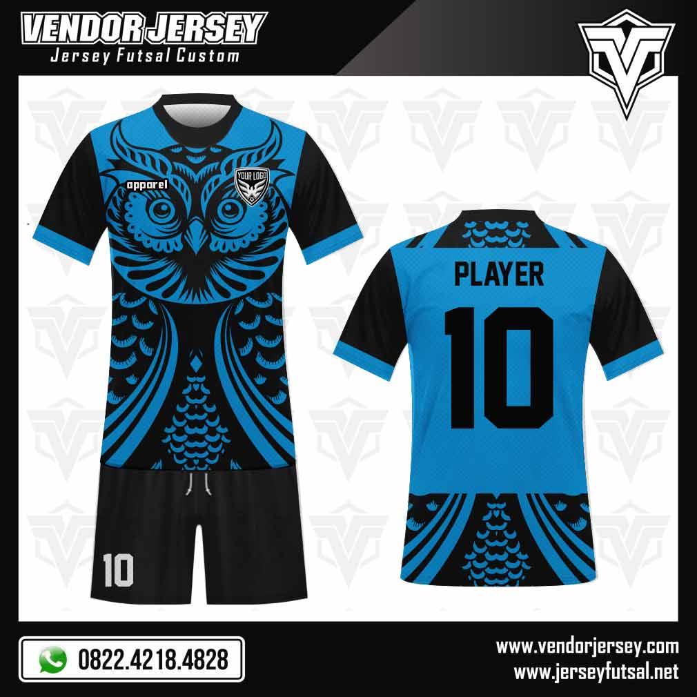 Desain Jersey Futsal Owl gambar burung hantu warna biru
