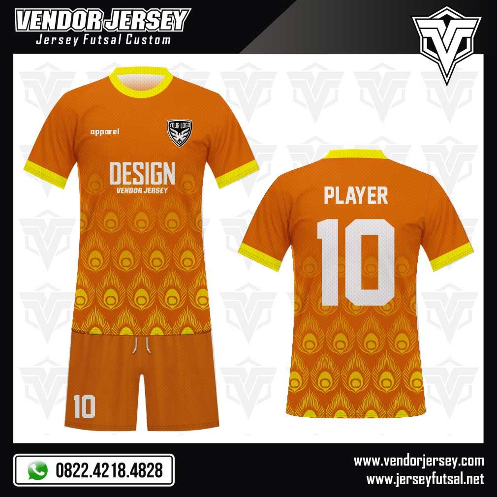 Desain Jersey Futsal Peacock Feathers warna orange