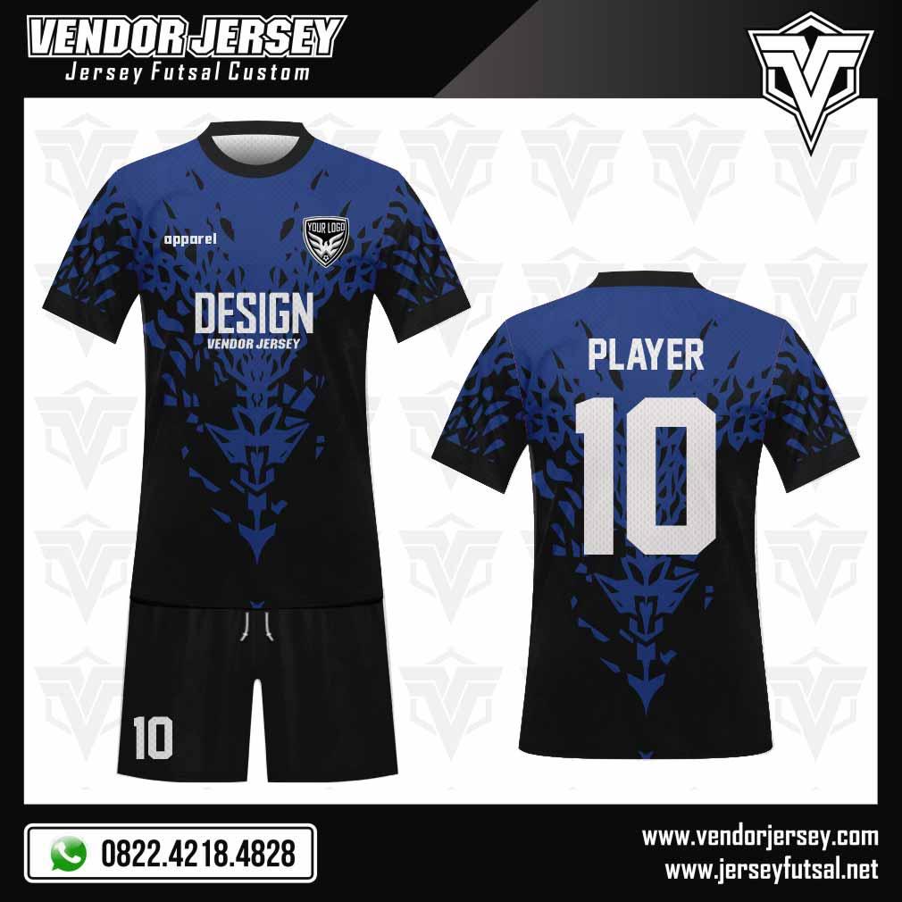 Desain Jersey Futsal Split biru hitam