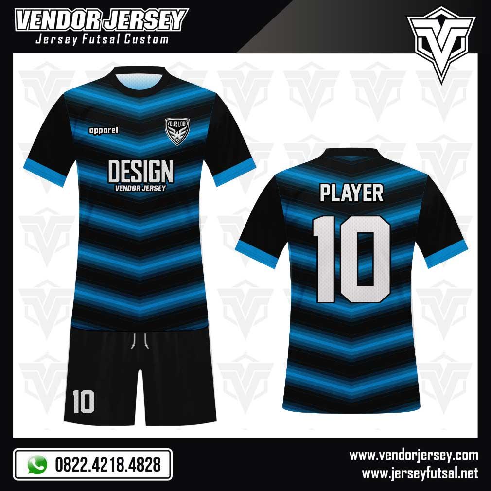 Desain Jersey Futsal Victoire warna biru hitam