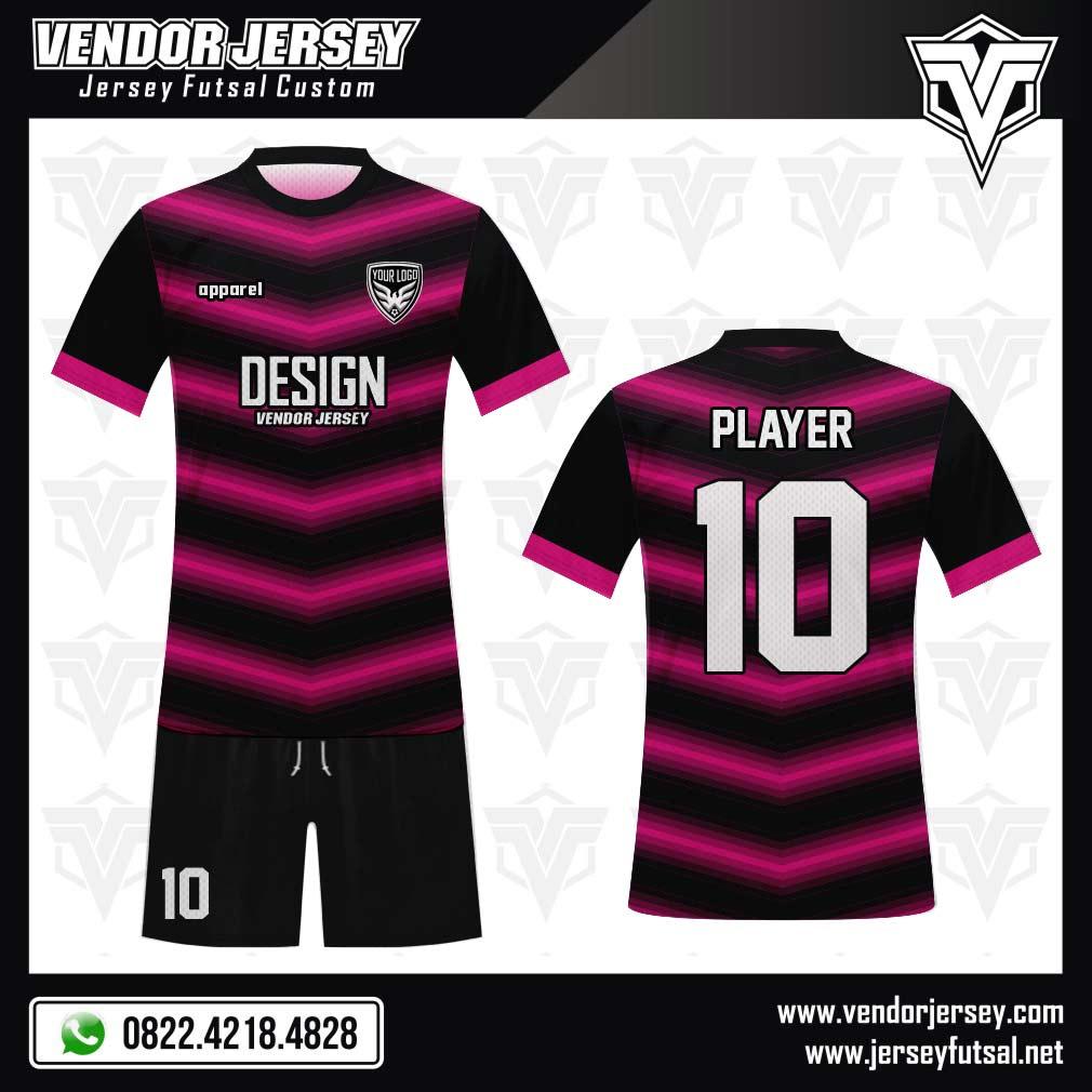 Desain Jersey Futsal Victoire warna hitam pink