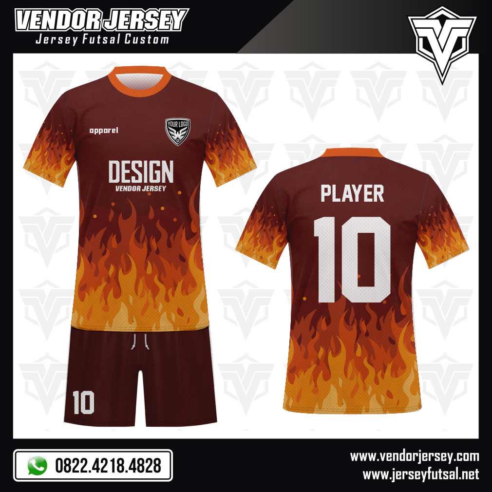 Desain Kaos Futsal Blaze - Motif Kobaran Api