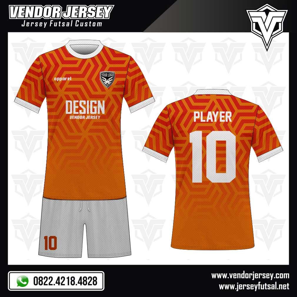 Desain Kaos Futsal Divide gradasi merah orange