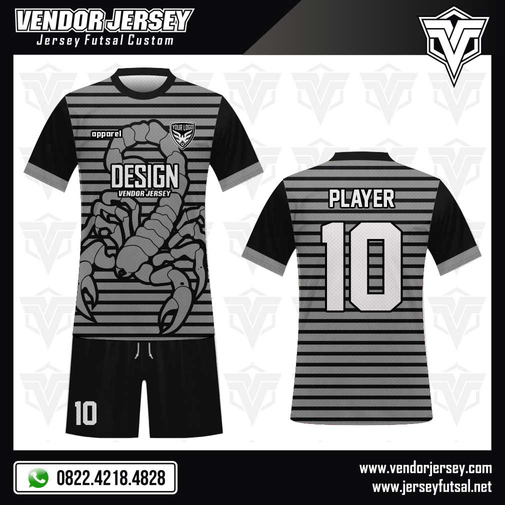 Desain Kaos Futsal Scorpion gambar kalajengking hitam abu