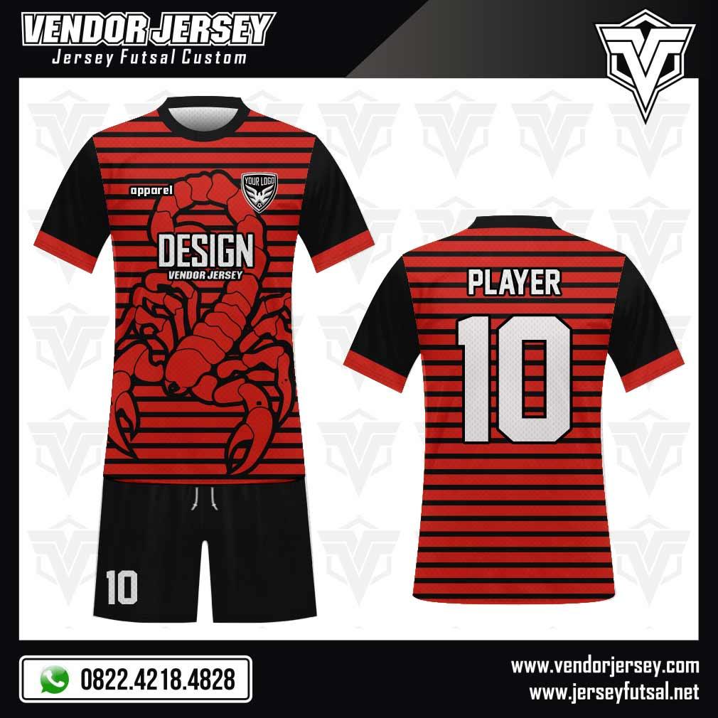 Desain Kaos Futsal Scorpion gambar kalajengking hitam merah