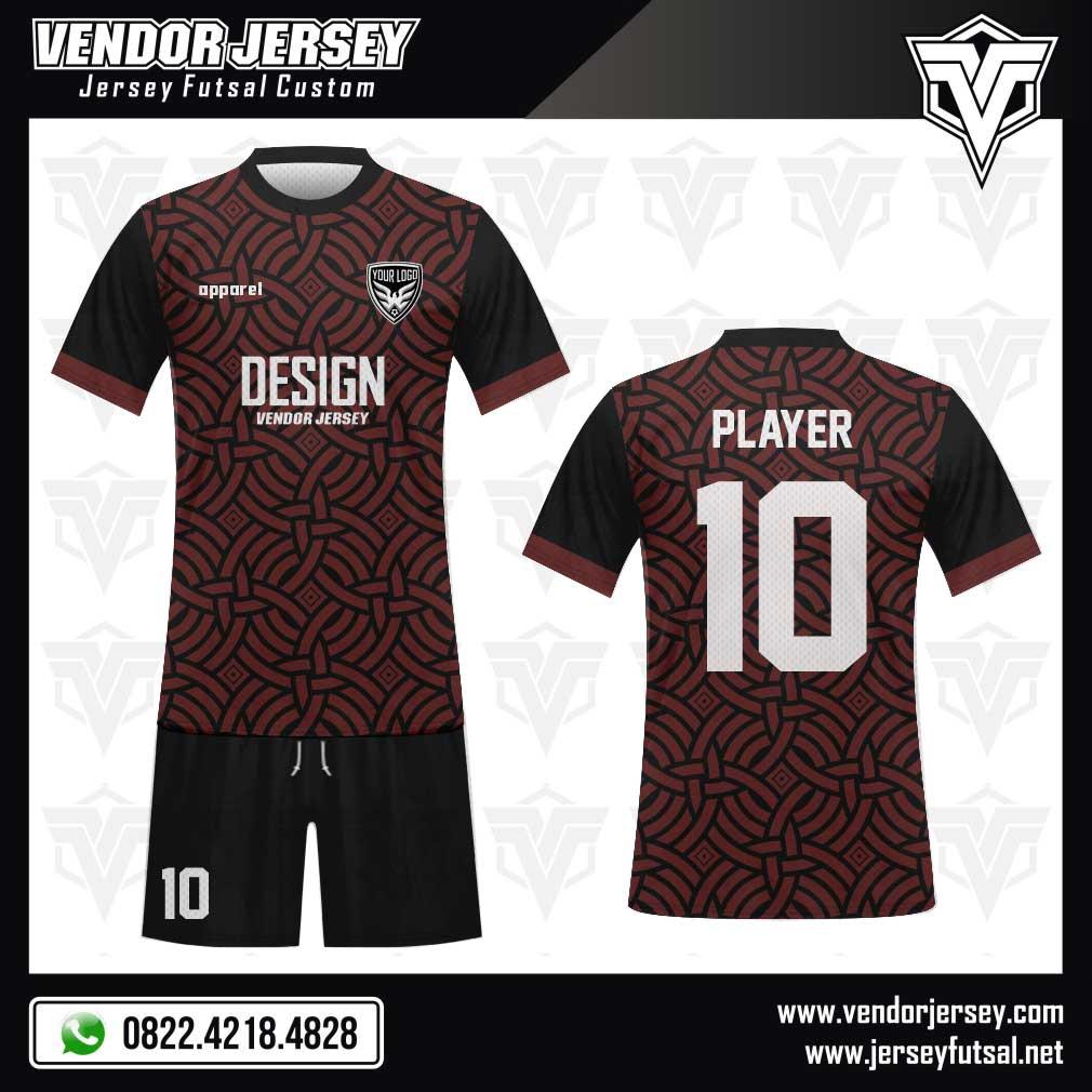 Desain Kaos Futsal Symmetrical warna hitam marun