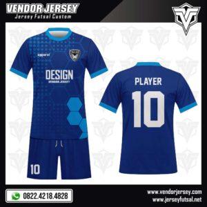 Desain Kostum Futsal Blue Hexagons