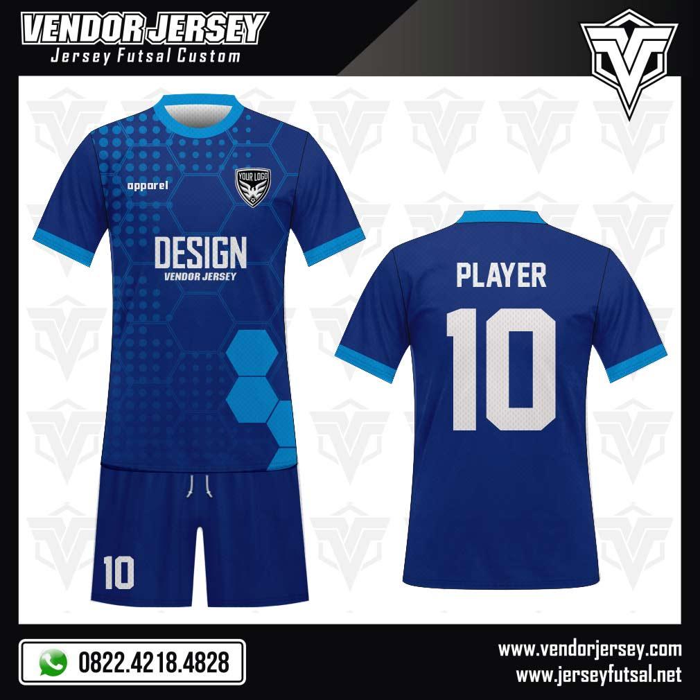 Desain Kostum Futsal Blue Hexagons warna biru