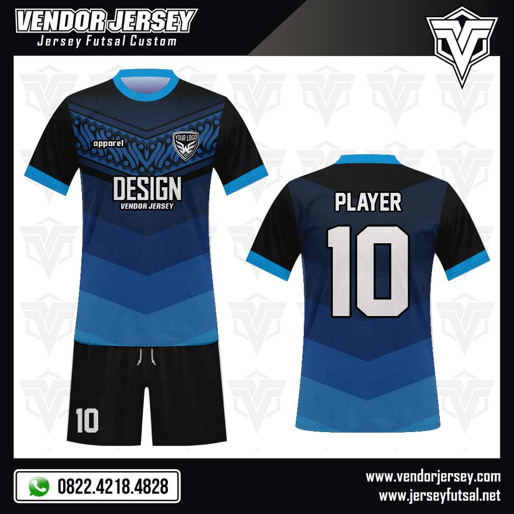 Desain Baju Futsal Ornavi - Motif Ukiran Batik biru