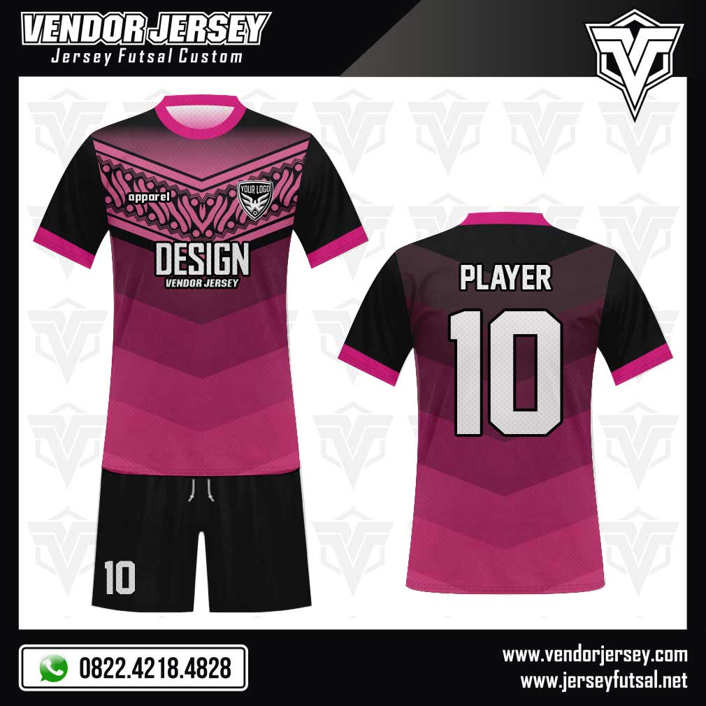 Desain Baju Futsal Ornavi - Motif Ukiran Batik pink