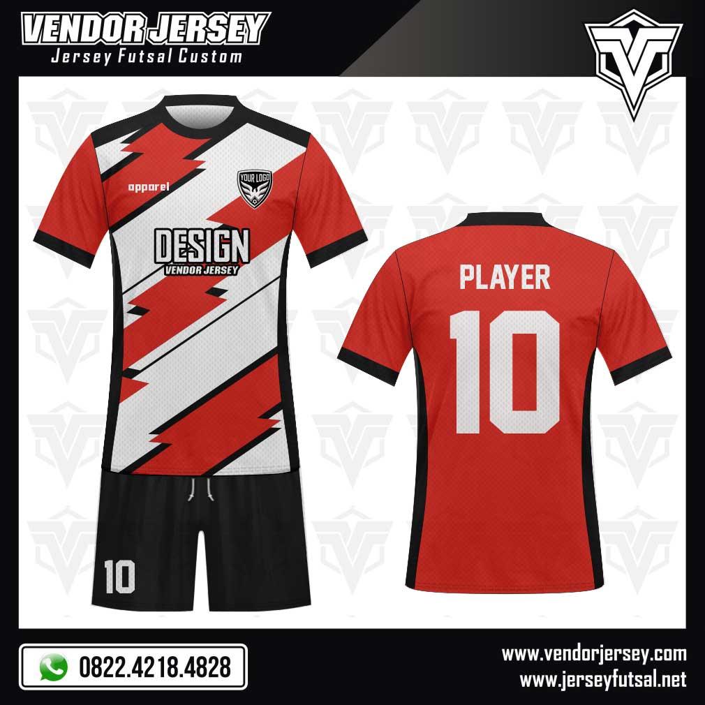 Desain Jersey Futsal Keren The Coolest merah putih hitam