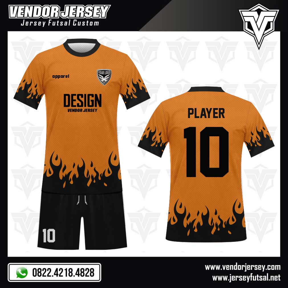 desain jersey futsal Hokage hitam orange