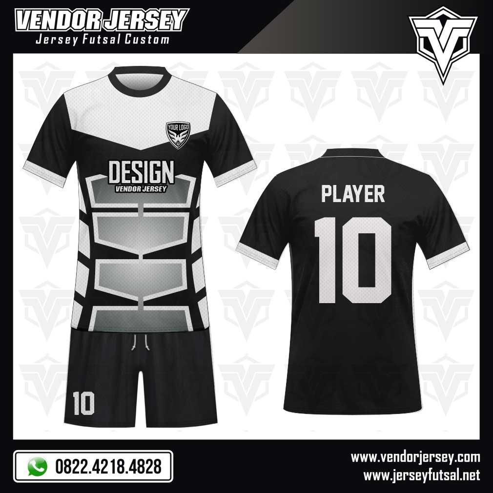 25 Desain Baju Bola Full Print Blackwhite Gradasi hitam putih