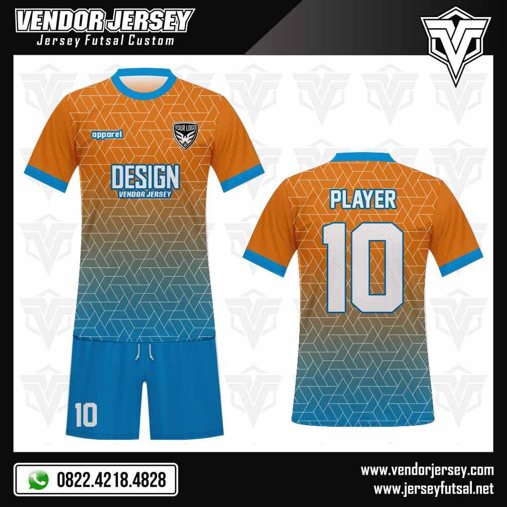 Desain Baju Bola Orenblu Warna Biru Gradasi Orange