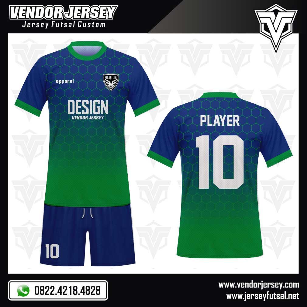 28 Desain Baju Bola Grahexa Motif Segi Enam Gradasi hijau biru