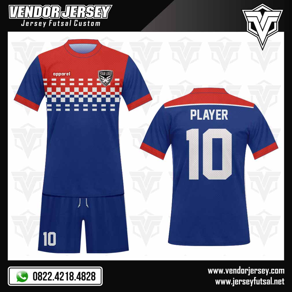 32. Desain Jersey Bola Crossa Biru Merah Putih