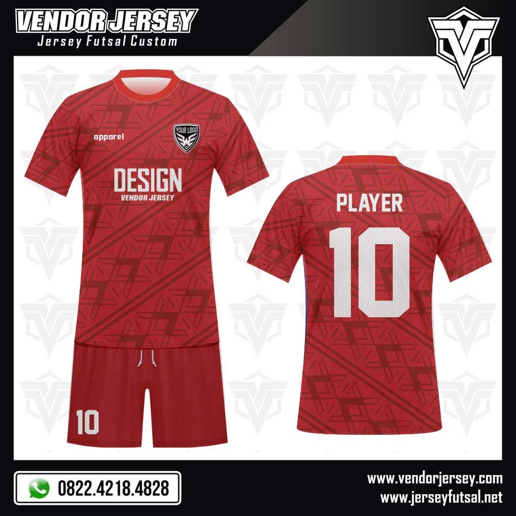 Desain Kostum Bola Full Print Redcross Merah Berkelas
