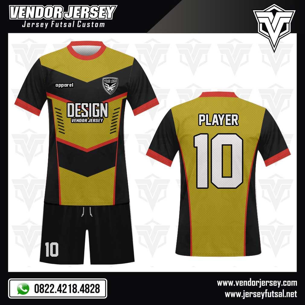 57. Desain Seragam Sepakbola Vigold Tampil Mewah warna kuning emas