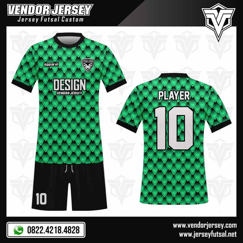 Desain Baju Futsal Conchiglia Motif Sisik hijau