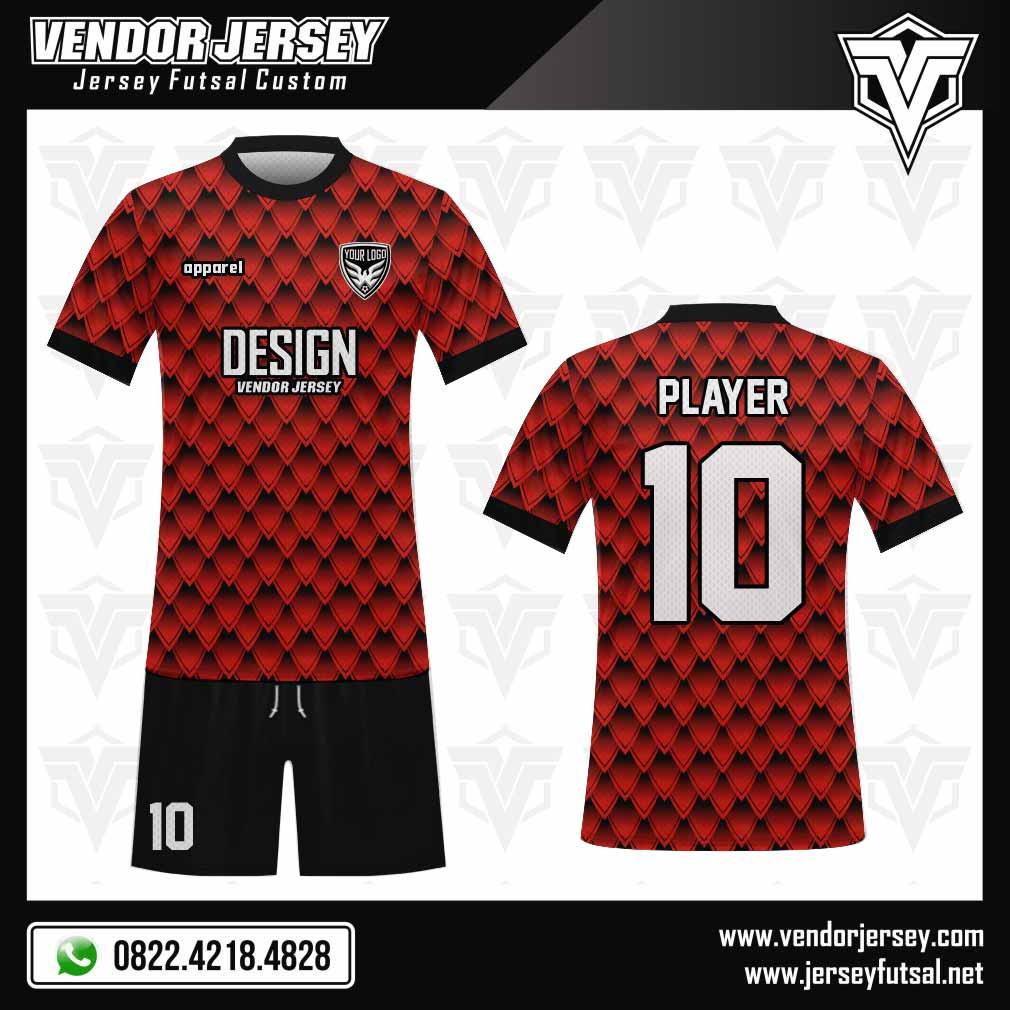 Desain Baju Futsal Conchiglia Motif Sisik merah