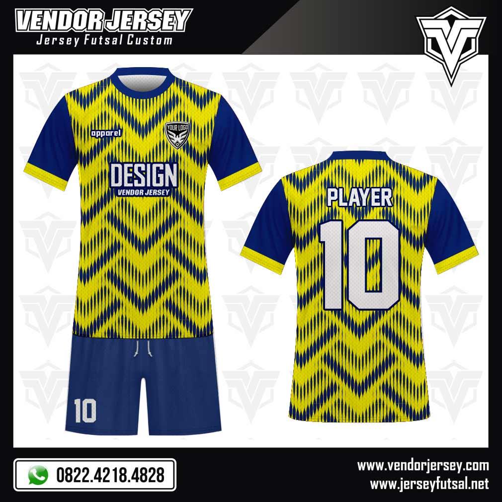 Desain Baju Futsal Trianglelin yang Unik dan Menarik kuning biru